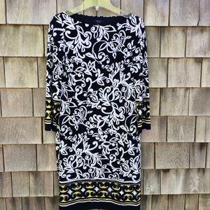 Chaps 3/4-Sleeve Lined Classic Shift Dress